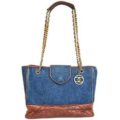 Preowned Vintage Chanel Blue Jean Denim And Brown Leather Combi... ($1,920) ❤ liked on Polyvore featuring bags, handbags, tote bags, blue, totes, handbags totes, chanel tote bag, leather shopper tote, vintage leather tote and brown tote bags