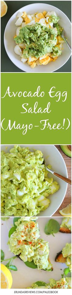 Avocado Egg Salad (Mayo Free!) an easy 4 ingredient lunch recipe theroastedroot.net paleo
