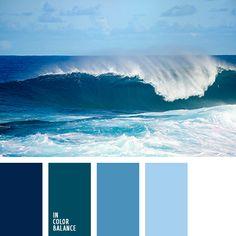 Los tonos fríos de las olas oceánicas son muy adecuados para decorar un cuarto de baño o una piscina.  Tal paleta de colores es buena para habitaciones con mucha humedad.