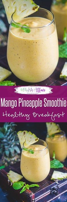 Enriched with fresh mango, fresh pineapple, banana, Mango Pineapple Smoothie is a nutritious tropical delight for the taste buds. Pineapple Smoothie Recipes, Best Smoothie Recipes, Mango Recipes, Good Smoothies, Smoothie Drinks, Fruit Smoothies, Mexican Food Recipes, Juice Recipes, Mango Drinks