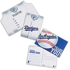 Los Angeles Dodgers Invitation and Thank You Note Combo is a must have for any Dodgers fan's MLB themed party. Our Dodgers invitation and thank you note combo comes in a package of 16.
