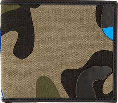 Valentino - Green & Blue Leather Patchwork Camo Wallet