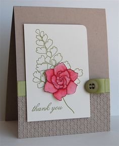 beautiful handmade card ... clean lines  ... like how the focal point flower is the only thing with a bright color ...
