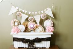 Tea Party decorations {vintage garden theme} - The Crafting Chicks Vintage Princess Party, Vintage Party, Vintage Tea, Tea Party Decorations, Party Centerpieces, Flower Centerpieces, Paper Decorations, Vintage Garden Parties, Diy Party