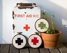 Classic Red Cross Wall Hangings / miniature rhino