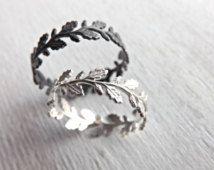 Oak leaf ring, Leaf eternity ring silver, Lace silver ring, Filigree ring silver, Wreath ring silver, Delicate silver ring, Oak wreath ring