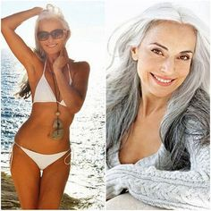 "Yasmina Rossi 59, uses grape seed oil on her skin. Fine sugar and olive oil scrub once a week. Eats an avocado a day. Eats organic meat and fish, and probably organic everything else. Doesn't ""over exercise."" Says she feels happier and more beautiful now than she did 20 years ago. Talk about GOALS."