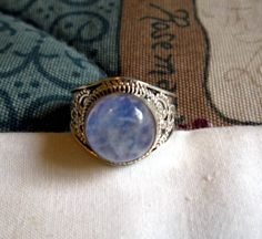 RING - Ornate  - ROUND - Purple  MOONSTONE   - 925 - Sterling Silver  - size 9 1/4  -    moonstone346 by MOONCHILD111 on Etsy