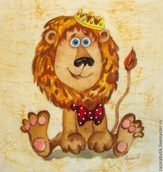 Купить Лёвка (батик панно) - бежевый, лев, гороскоп, картина, подарок, Батик, царь, корона