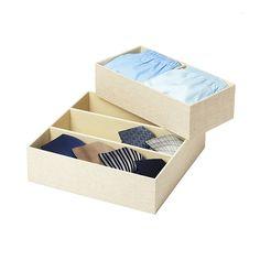 Dresser organization: Linen drawer organizers from The Container Store. Deep Drawer Organization, Closet Organizer With Drawers, Container Organization, Purse Organization, Container Store, Drawer Organisers, Drawer Dividers, Drawer Inserts, Drawer And Shelf Liners