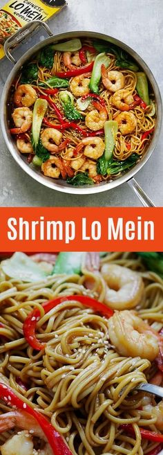 Lo Mein – the best and most delicious Shrimp Lo Mein recipe ever! Made with Simply Asia Chinese Style Lo Mein Noodles, it's better than Chinese restaurants Seafood Dishes, Pasta Dishes, Seafood Recipes, Cooking Recipes, Asian Recipes, Great Recipes, Dinner Recipes, Healthy Recipes, Ethnic Recipes