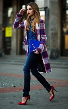 Winter Fashion Plaid Coat Diesel Blue Gingham Shirt By Maffashion Denim Jeans Red Pointy High Heel Shoes Midnight Blue Clutch Bag Style Trend Outfit OOTD Street Chic, Red Street, Fall Winter Outfits, Autumn Winter Fashion, Moda Grunge, Blue Gingham Shirts, Blue Plaid, Street Style Inspiration, Fall Clothes