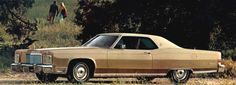 1974 Lincoln Continental Coupe in Medium Beige (paint code 5S) with optional White Vinyl Roof (roof code W)