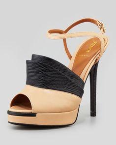 FENDI - Anemone Lizard-Stamped/Smooth Sandal, Nude/Black