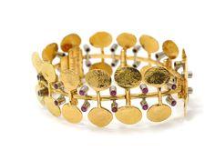 Bracelet, 18k gold, rubies, Silversmedjan, Trosa, Sweden, 1972  kaplans.se