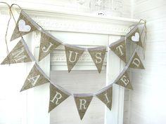 JUST MARRIED burlap banner, bunting, wedding banner, wedding garland, cake table banner. $34.00, via Etsy.