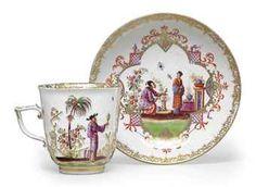 ** Šálek na čaj - malovaný porcelán ♣ Míšeň **