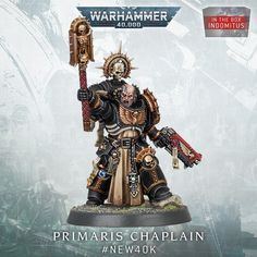 """Warhammer Community's Instagram photo: """"Chaplains stoke the fires of righteous fury, inspiring their brethren to even greater acts of valour."""" Warhammer 40k Art, Warhammer 40k Miniatures, Act Of Valor, The Grim, Space Marine, Marines, Blood, War Hammer, Gw"""