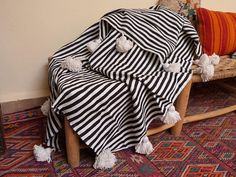 Moroccan pompom blankets tassel throw blankets striped