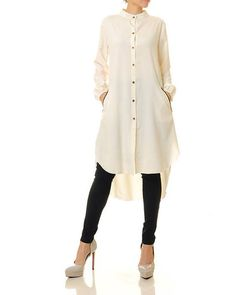 Items similar to White Tunic Dress Demin Dress, White Tunic Dress, White Tunic Tops, Shirt Dress, Long Kurti With Jeans, Kurti Designs Party Wear, Stylish Tops, Loose Tops, Long Sleeve Tunic