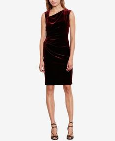 Lauren Ralph Lauren Stretch-Velvet Sheath Dress, Regular & Petite Sizes - Cordovan 14P