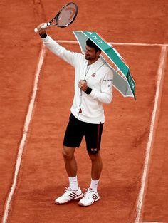 "NOVAK DJOKOVIC | Novak ""entertaining"" the crowd during the rain..."