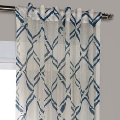 Decorate your room by Normandy Blue Printed Faux Linen Sheer Curtain at the best price. Get Sheer Curtains - your online cotton curtains store! Sheer Linen Curtains, Navy Curtains, Coastal Curtains, Sheer Curtain Panels, Cotton Curtains, Panel Curtains, Geometric Curtains, Colorful Curtains, Curtain Store