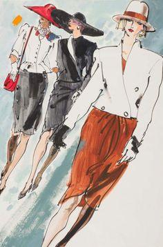 Fashion illustration by Kenneth Paul Block (1925–2009), 1982, Yves Saint Laurent,  Bill Blass, Valentino,  W Magazine.