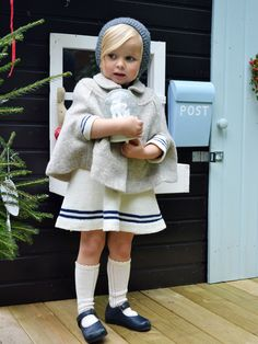 Knitted sailor dress, a beautiful cape and the little bonnet. This makes the most adorable outfit for Christmas!
