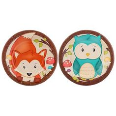"The woods can be a scary place, but not with these cute woodland creatures around! Small Woodland Party Plates are perfect for your woodland-themed party!    	Featuring an adorable blue owl and orange fox, these plates are ideal for snacks, desserts, and more. Coordinate your party with ease-and make clean-up easy, too!    	     	Dimensions:    	  		Diameter: 8""      	     	Each package contains 10 plates (5 of each design)."