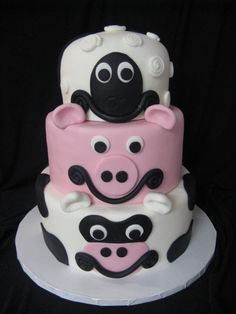 cow, pig and sheep cake