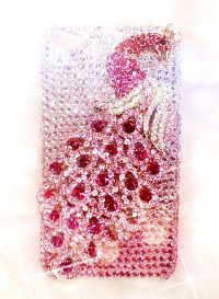 Bling Crystal Sparkle Pink Peacock On Pink iPhone 4/4S Case