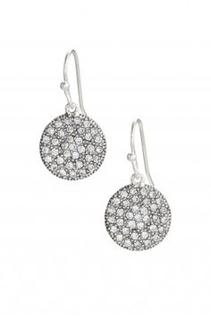 "Stella & Dot Etoile Drops $49  Pair these with the Etoile pendant ($59) for a stunning look!  Sterling silver discs are dotted with cubic zirconia crystals to play with the light. Pair with matching Etoile Pendant for maximum shimmer.  0.5"" drop length.    Featherweight.    Sterling silver ear wire.  Lead and nickel safe."