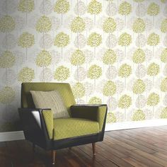 A beautiful tree inspired wallpaper in a great colour scheme of green and cream. Available from Go Wallpaper UK. Tree Inspired Wallpaper, Tree Wallpaper Green, Coral Wallpaper, Forest Wallpaper, Retro Wallpaper, Wallpaper Lounge, Kitchen Wallpaper, Room Paint Colors, Wall Colors