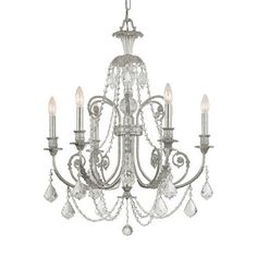 Crystorama Lighting Group Regis Olde Silver Six Light Chandelier With Hand Polished Crystal On SALE