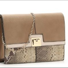 NEW!  Melie Bianco color block clutch❤ Feaux Leather clutch!  So stylish.  Removable chain link shoulder strap. Satin lining.  10 1/2 x 3 x 7 Melie Bianco Bags