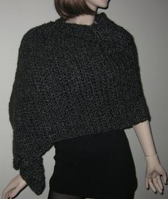Black and Grey Homespun Prayer Shawl in the color by DeniseBlack, $50.00