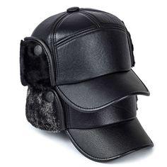 4a2bb500ec2d60 2019 Men winter hats PU leather baseball cap men protect ear fur bomber hats  snapback casquette outdoor Keep warm dad hat gorras