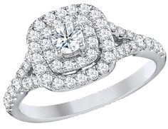 Diamond Double Halo Engagement Ring 1 Carat (ctw) in 14K White Gold