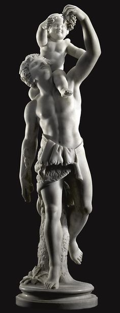 Pietro Franchi (Italian, 1817-1878) Bacchus and Cupid, white marble, height 98 cm.