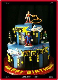 Super Hero Theme Birthday Cake