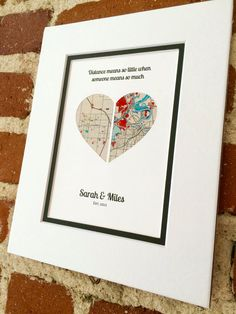 The perfect thoughtful gift or personal memento. This personalized map makes the perfect gift with custom map location, text & quote. Our artwork is created by inlaying your personalized map inside a shape cut from premium cardstock papers. These are so much more than just art prints!!! First Anniversary Gifts, Paper Anniversary, Wedding Vow Art, Long Distance Relationship Gifts, Paper Hearts, Custom Map, Personalized Wedding Gifts, Paper Gifts, Engagement Gifts