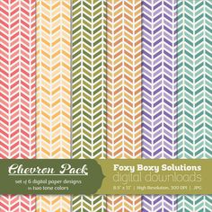 Color Chevron Digital Paper Pack: Set of 6 by FoxyBoxyDigital