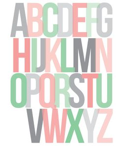 Alphabet // ABCs // Nursery or Children's Print  // Typography