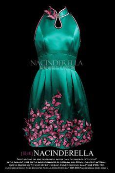 Emerald green satin hand made butterfly modern cheongsam dress. $1,388.00, via Etsy.