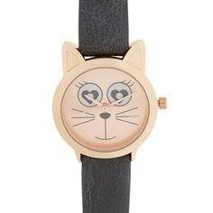 Floozie by Frost French Ladies grey cat face watch- at Debenhams.com