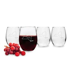 Home State Personalized Stemless Wineglass - Set of Four