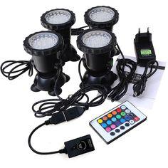 GEEDIAR 36 LED Spot Led Submersible Ampoule / Lampe LED Etanche 1 set avec 4…