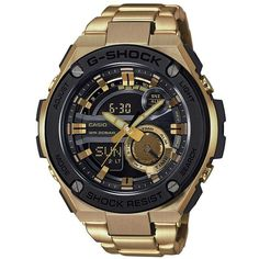 G-Shock G-Steel Ana-Digi Goldtone Stainless Steel Watch (1.465 BRL) ❤ liked on Polyvore featuring men's fashion, men's jewelry, men's watches, apparel & accessories, gold, mens digital watches, mens analog watches, mens chronograph watches, mens digital watch and g shock mens watches