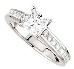 Channel Set Engagement Rings - Princess Cut Diamond Engagement Rings